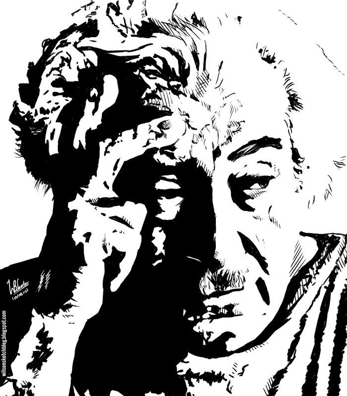 Ink drawing of Jorge Amado, using Krita 2.4.