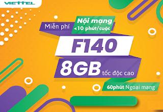Miễn phí Gọi vô tư, Nhận 8GB Gói F140 Viettel
