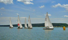 J/22 one-design sailboats- on Brombachsee Lake in Netherlands