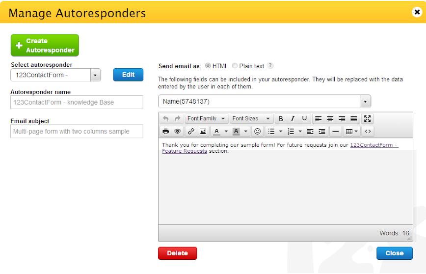 Delete Web Form Autoresponders