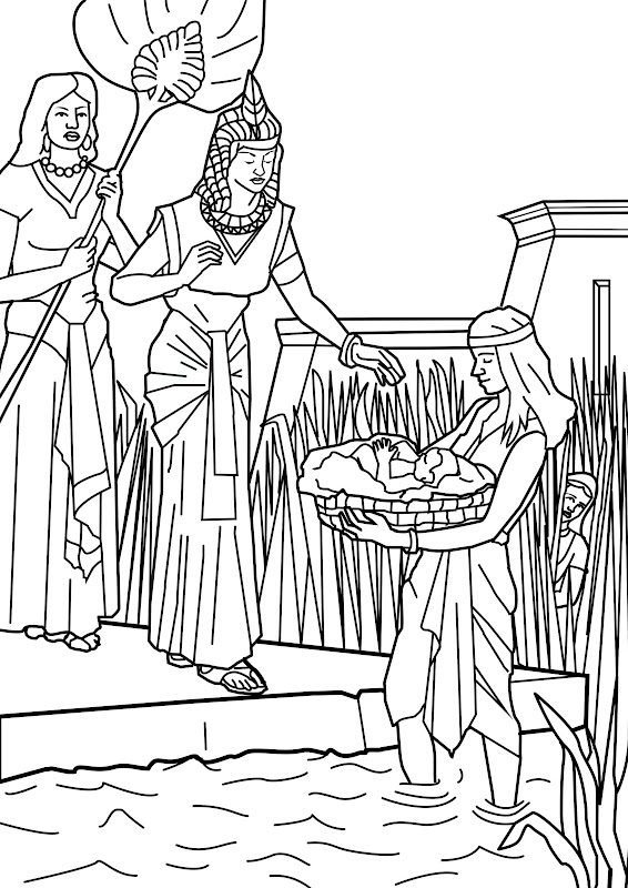 Moses on the river coloring pages