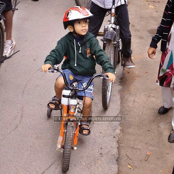 A child during the Cycle Day celebrations, in Bangalore.