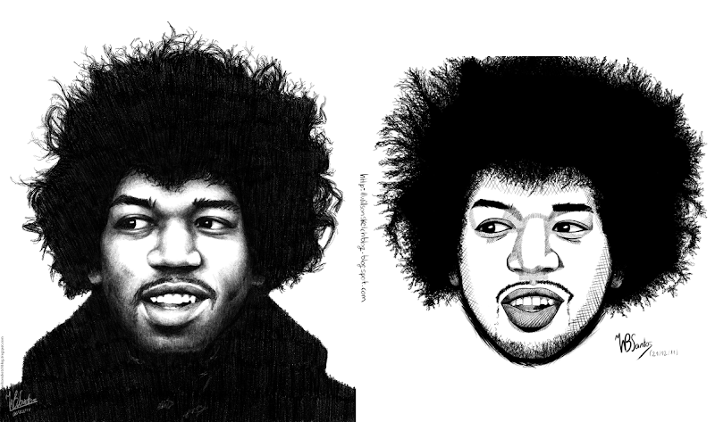 Comparing two drawings of Hendrix