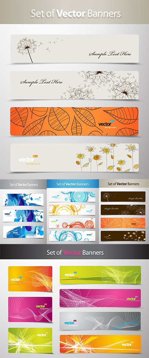 Stock: Set of abstract colorful web headers 8