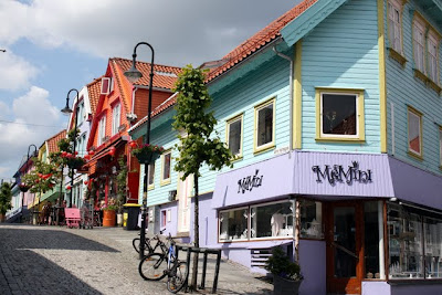Brightly colored shops in Stavanger Norway