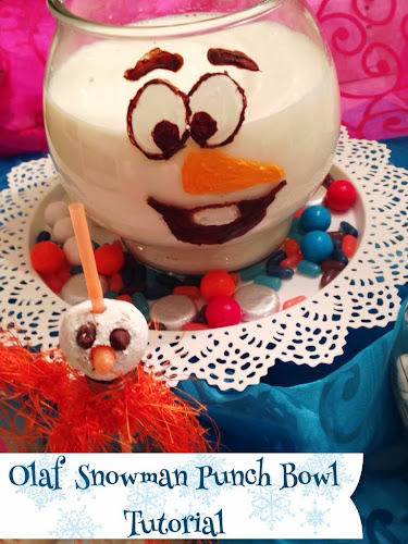 Olaf snowman punch bowl diy, snowman punch bowl, Disney frozen movie