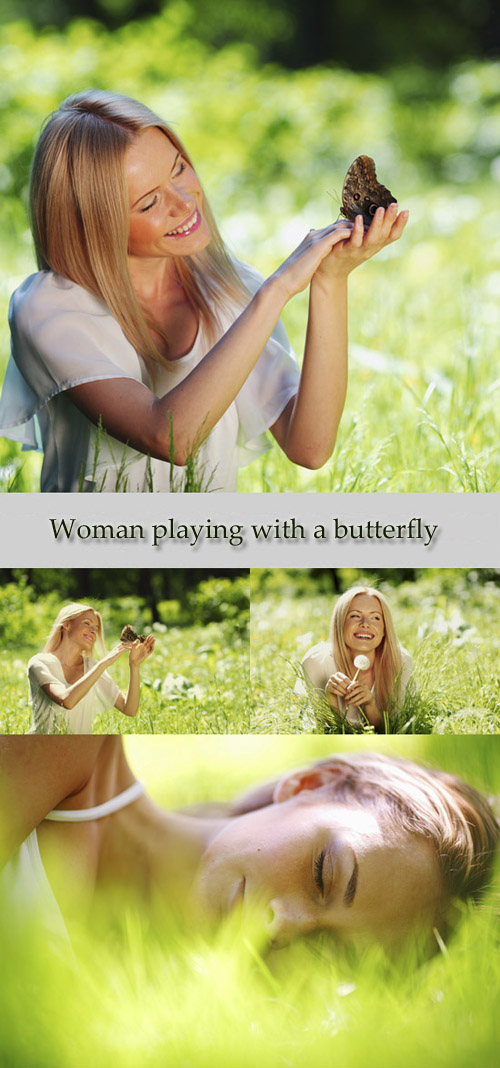 Stock Photo: Woman playing with a butterfly