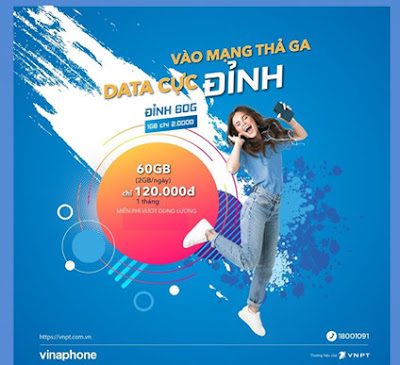 Miễn phí 60GB data 3G, 4G; Gọi Miễn phí với gói D60G của Vinaphone
