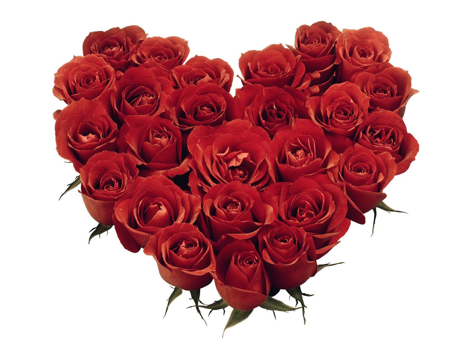 Rode rozen in de vorm van een hart
