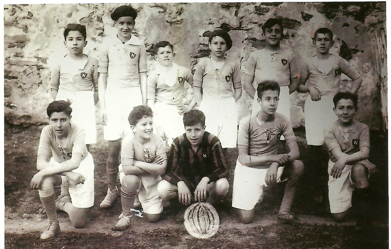 A.D.R. Numancia de Ares. Numancia. 1929  Toñito Escudero, Arito, Jesús, Ángel, Agustín e André Javier, Julio, Toñito Sixto, Toñito Caracho e Licho