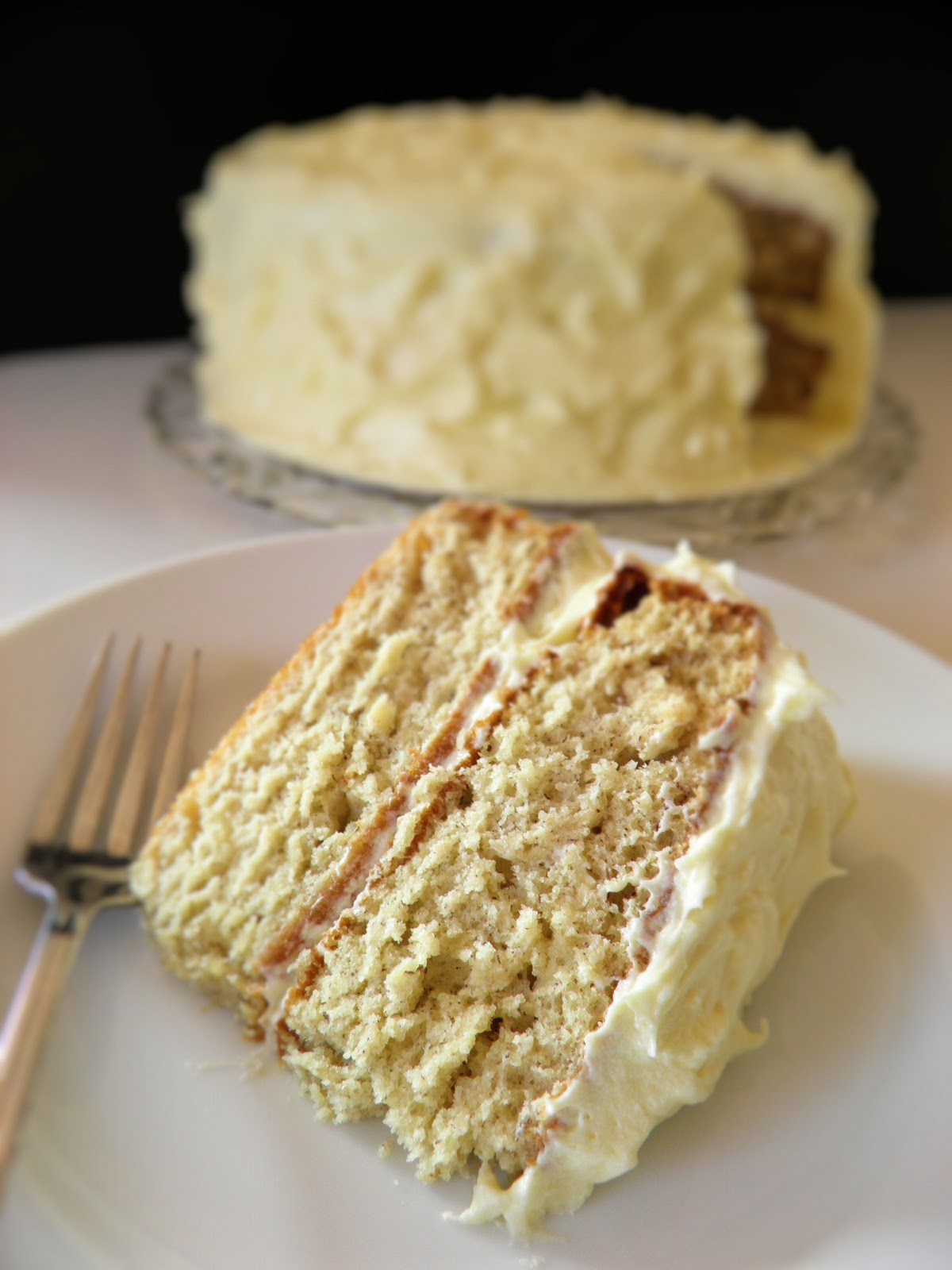 Banana Cake with Rum Cream Cheese Frosting | Dulce Dough Recipes