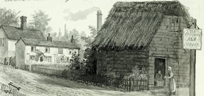 """The cottage where Webb lived dated from 1500 AD stood behind this black tarred one which is on the west side of the Chequers pub. In 1918 a small wooden recreation room was brought from the Whittlesford military hospital and placed upon the site of these old cottages and has been named Freda Room. A larger permanent room will soon be added and named Victory Hall. William Gall used to make asphalte and disinfecting fluids in his yard. He built a very tall brick chimney there but the smoke and the odours from the asphalte manufacture were so distressing to the whole parish that it was bought by J.F.Eaden esquire. "" From A Record of Shelford Parva by Fanny Wale P40"
