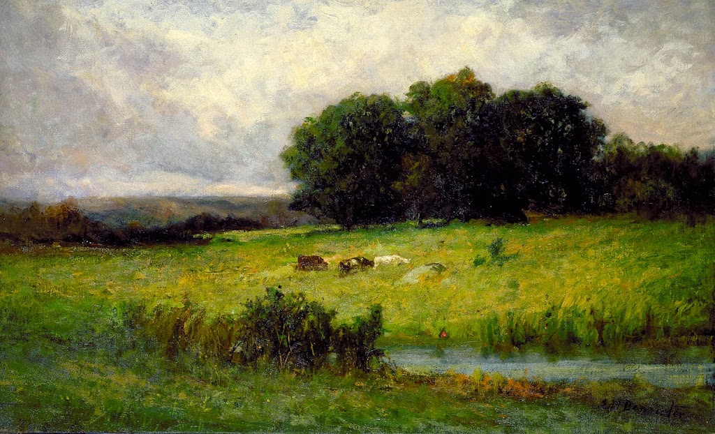 Edward Mitchell Bannister - Bright Scene of Cattle near Stream