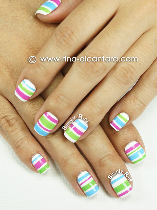 Colored Stripes Nail Art Design
