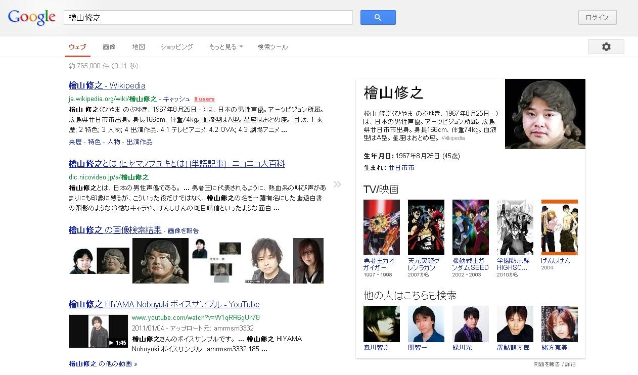 Googleで声優の「檜山修之」を検索すると顔写真とか出るんだけどさ・・・