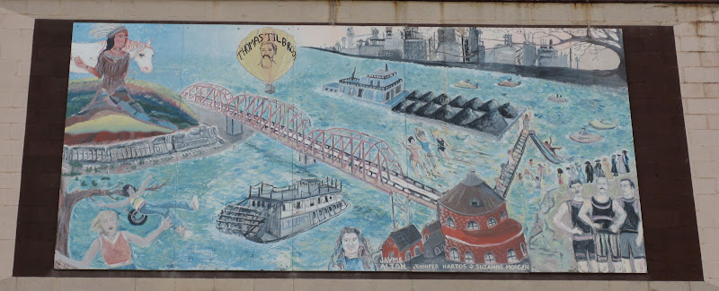 Native Americans, bridge, barge, coal, factory, swimming.