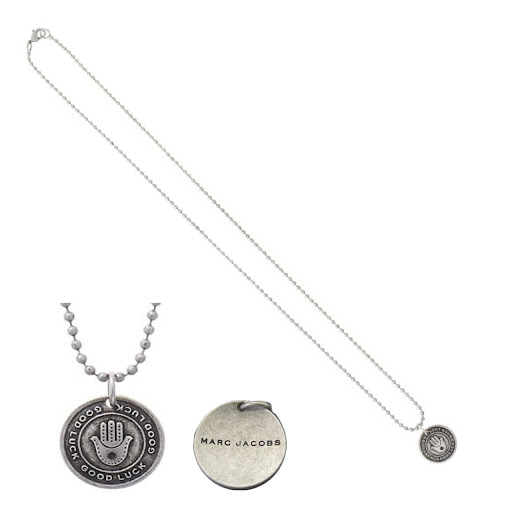 Marc by Marc Jacobs Coin Necklace Good Luck Hand - Antique Silver
