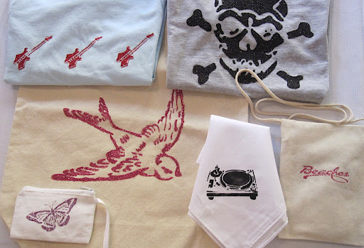 Stencil Fashion: bags, tees, and a bandana.