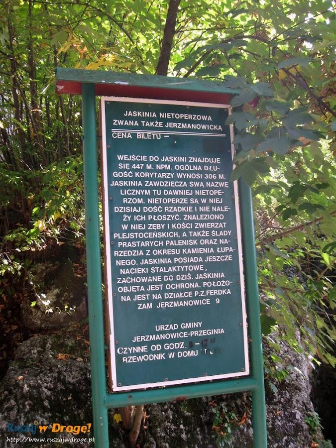 tablica informacyjna przed jaskinią