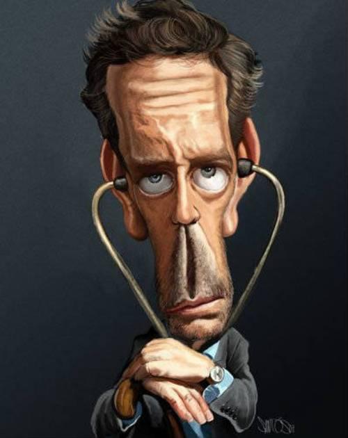 Хью Лори - Доктор Хаус - 18 юмористических карикатур на знаменитостей из 15 известных кинолент (2)