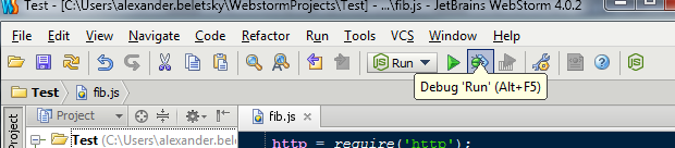 JetBrains WebStorm - nodejs, debugging