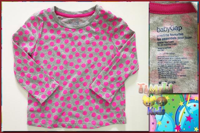 Áo thun bé gái hiệu babyGap hàng xuất xịn, made in vietnam, chấm bi hồng.
