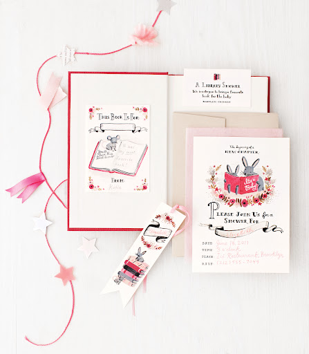 The talented Anna Bond of Rifle Paper Co. designed this invitation. It includes a bookplate so that guests can inscribe their book for the new library.