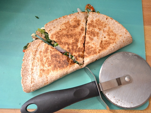 cut quesadillas