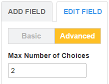 123ContactForm how to set maximum number of choices for checkbox fields