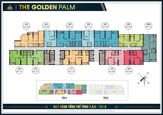 Mặt bằng thiết kế tầng 7,8,9 tòa A The Golden Palm