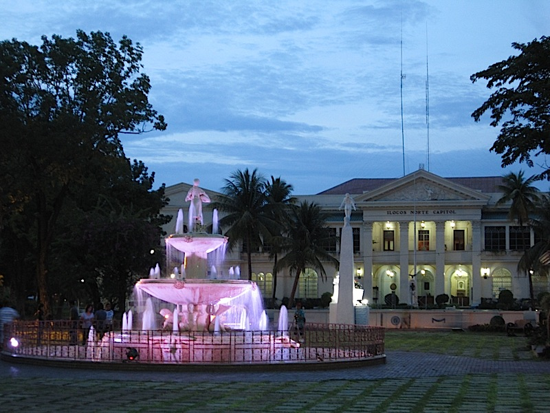 Aurora Park fountain and capitol building of Ilocos Norte in Laoag City