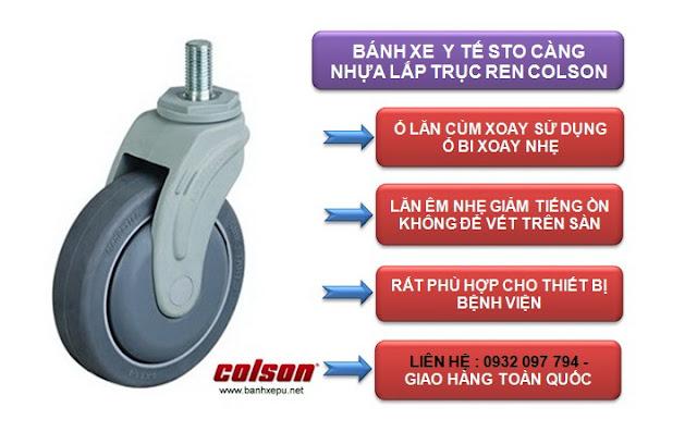 Bánh xe đẩy cao su cọc vít chịu tải trọng 100kg | STO-5854-448 www.banhxepu.net