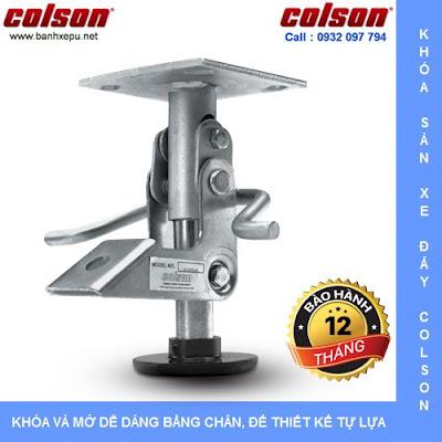 Bộ khóa sàn xe đẩy hàng 6002x3 ( Colson floor lock/ stopper ) có tổng chiều cao khi khóa 121mm phù hợp với bánh xe đẩy có tổng chiều cao nhỏ hơn từ 1.6mm đến 6mm.