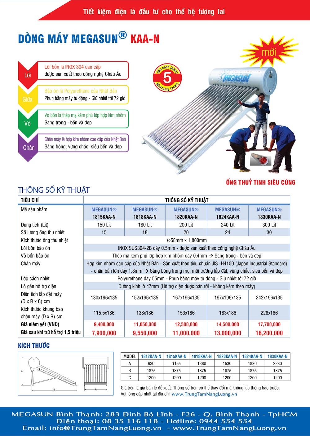Catalogue - bảng giá thông số kỹ thuật máy nước nóng năng lượng mặt trời MEGASUN, bồn nước inox MEGASTAR, ống nhựa hàn nhiệt PPR