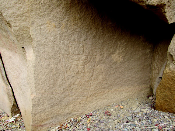 Petroglyph and handprint near Upside-Down Man