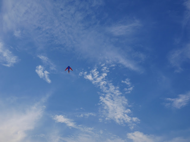 kite flying in a blue sky with clouds