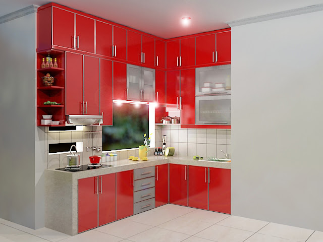 dapur bersih dan dapur kotor, kitchen set modern, kitchen set murah, design kitchen set modern, harga kitchen set, design kitchen set letter l