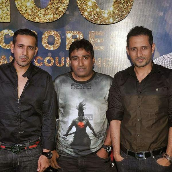 Meet Brothers poses with a guest during the success party of Bollywood movie 'Ek Villain', held at Ekta Kapoor's residence on July 15, 2014.(Pic: Viral Bhayani)