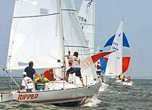 J/24 one-design sailboats- sailing Buzzards Bay