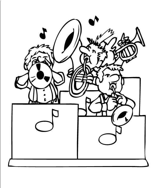 Orquesta de jazz para colorear