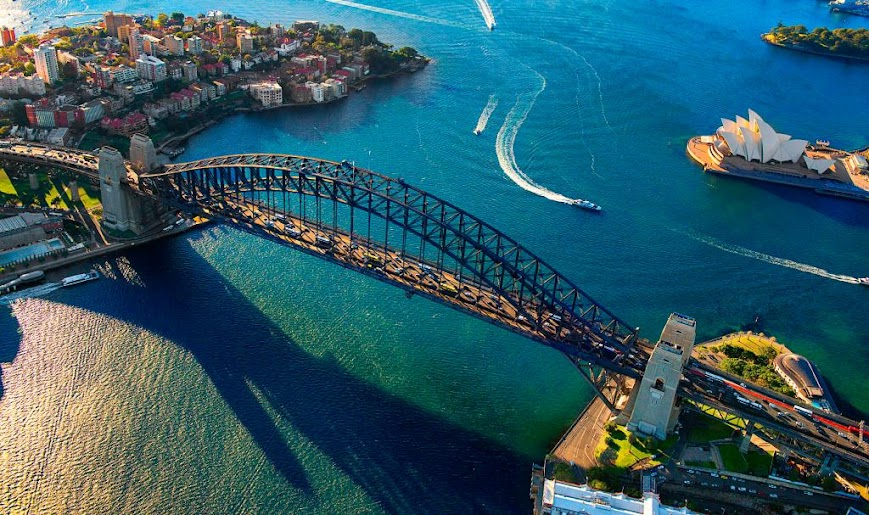 Sydney Harbour Bridge and Opera house viewing from a flycam