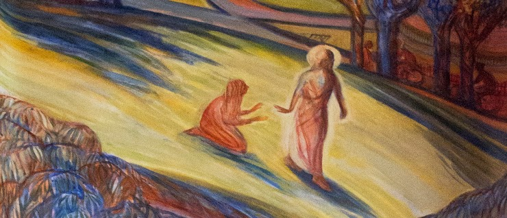 Christ in the garden with Mary Magdalene, from a mural in Glasgow's Episcopal Cathedral, photographed by Lawrence OP