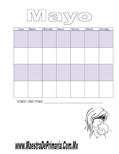 Calendario Cívico Del Mes De Mayo
