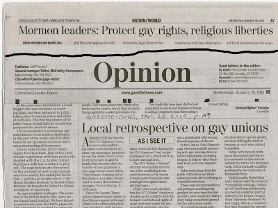 Kraemer newspaper opinion piece Jan. 28, 2015 and Mormon reaction