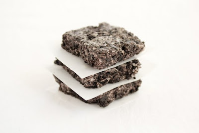 photo of a stack of three cookies and cream bars