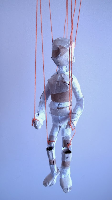 Prototype of 'toilet roll marionette'