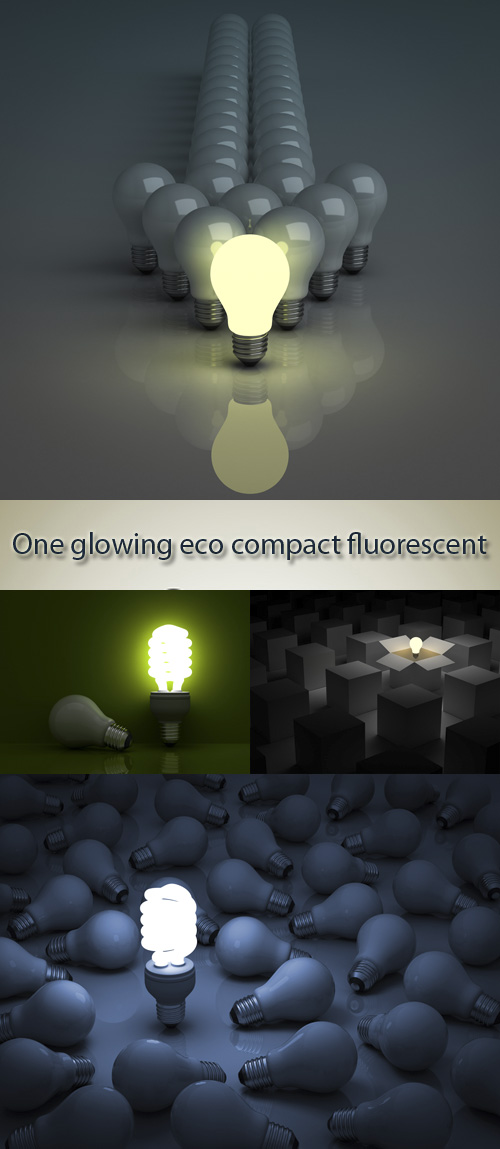 Stock Photo: One glowing eco compact fluorescent light bulb