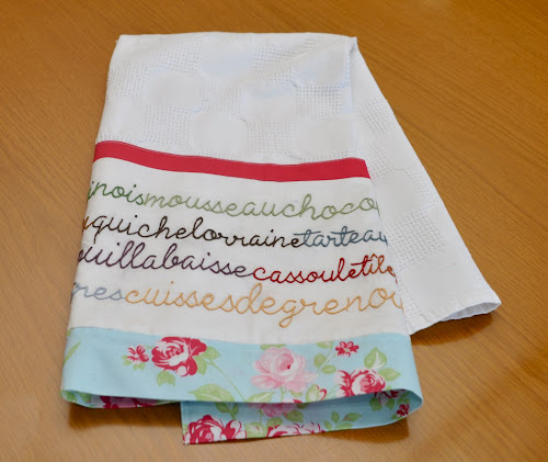 French Cuisine Tea Towel Embroidery Free Pattern Sewn Up