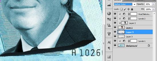 Padrão da parte interna da efígie posicionada e com a mesclagem da camada ajustada em Darker Color