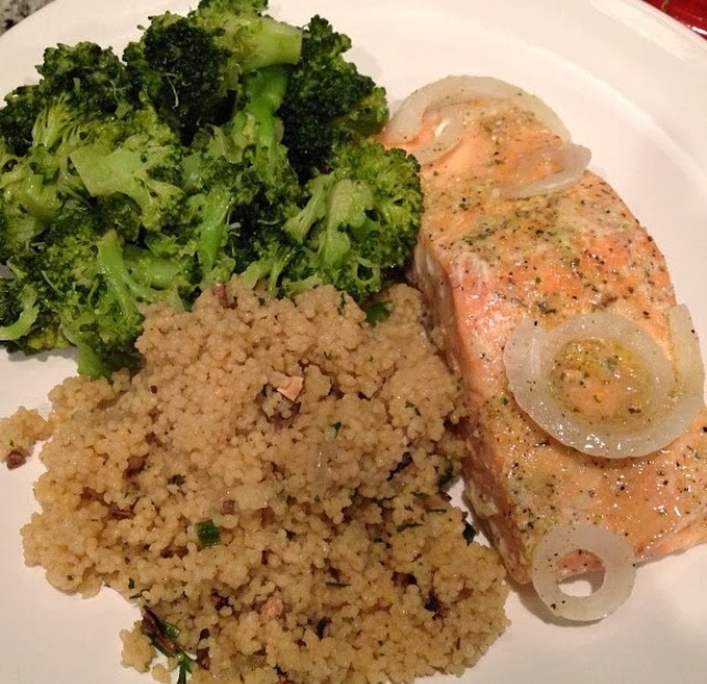 Baked salmon, mushroom and herb couscous, and steamed broccoli.